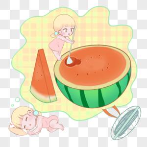 做梦吃西瓜的女孩图片