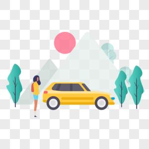 开车上班图标免抠矢量插画素材图片