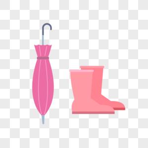 雨伞雨靴防水雨具矢量扁平素材图片