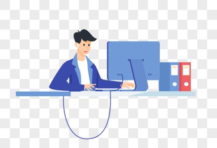 在电脑前工作的男性图片