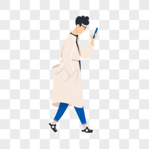 一边走路一边看手机的男生图片