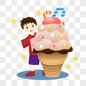 吃冰激凌的男孩图片