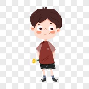 手拿黄色的花的可爱卡通男孩图片