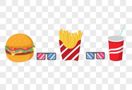 手绘卡通高热量食物汉堡薯条可乐分割线花边边框图片