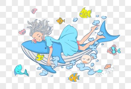 世界海洋日女孩儿与鱼群图片