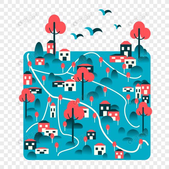 山村风景扁平插画图片