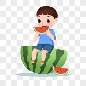 卡通手绘男孩开心吃西瓜图片