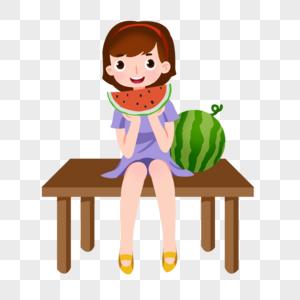 卡通手绘女孩坐在凳子上开心吃西瓜图片