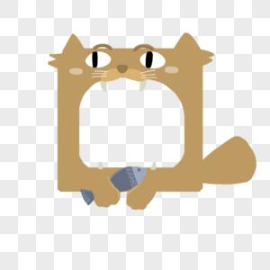 手绘猫猫吃鱼边框图片