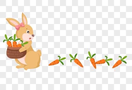 手绘卡通兔子分割线花边图片