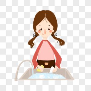 小清新劳动卡通小女孩图片