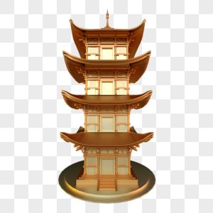 建筑中式古代宝塔多层金色金属古铜历史图片