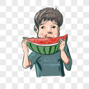 手绘卡通夏季美食水果吃瓜小孩开心元素图案图片
