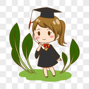 毕业季卡通学生穿学士服女孩图片