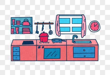 卡通厨房图片