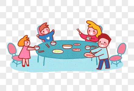 饭桌一家人图片