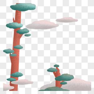 树 云背景元素图片