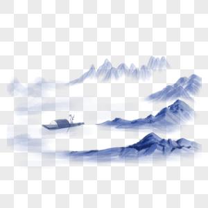 可商用蓝色简约古风风景图片