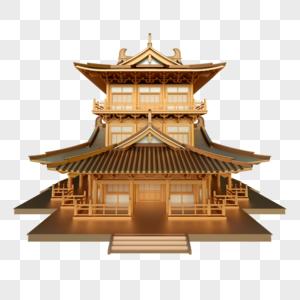 建筑中式古代阁楼大殿金属古铜历史图片
