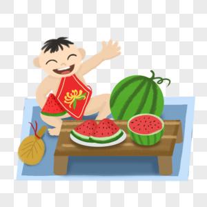 夏季吃西瓜的小朋友图片