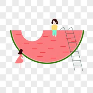 西瓜与孩子图片