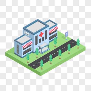 2.5D蓝色小清新医院房子建筑插画图片