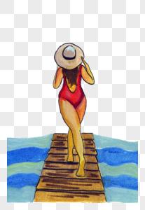 游泳美女背影图片