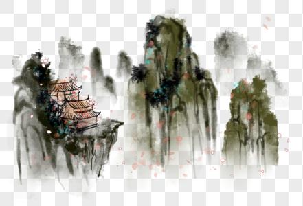 中国风写意水墨山水房屋图片