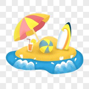 遮阳伞沙滩海浪图片