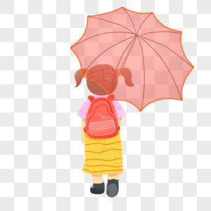 小学生撑伞背影图片