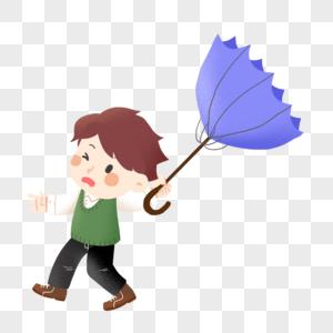 下雨天伞被吹翻的小学生图片