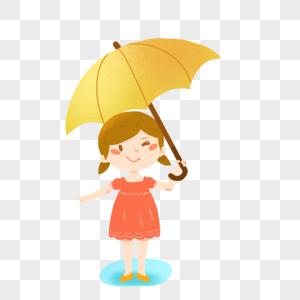 下雨天拿着伞的小女孩图片