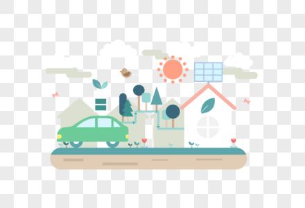 电动车太阳能充电环保主题矢量素材图片
