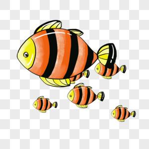 手绘卡通鱼群png免抠素材图片