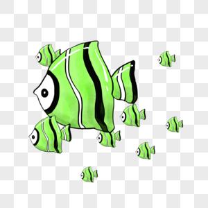 手绘可爱鱼群png免抠素材图片