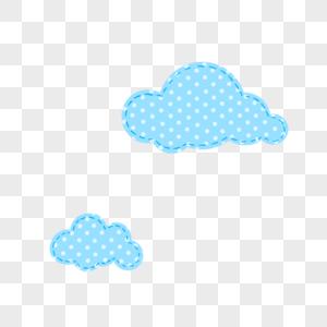 波点纹样手绘云PNG图片