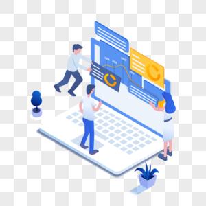 商务数据管理数据分析2.5D商业插画轴测图免抠素材图片