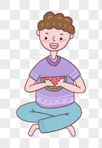 夏天吃西瓜的男孩图片
