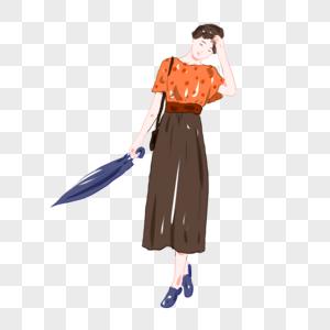 手绘女孩拿着雨伞元素图片