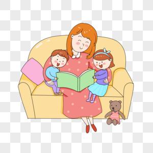 二胎家庭妈妈讲故事图片