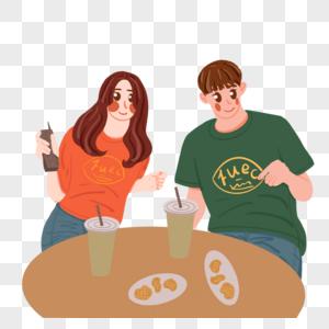 七夕一起约会吃东西的情侣图片