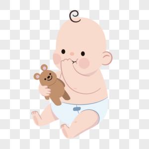 玩小熊的婴儿卡通人物元素图片