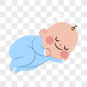 襁褓中熟睡的婴儿卡通人物元素图片