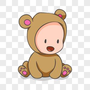 穿猴子装的婴儿卡通人物元素图片