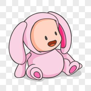 穿粉红色兔子装的婴儿卡通人物元素图片