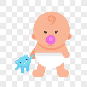 玩玩具的婴儿卡通人物元素图片