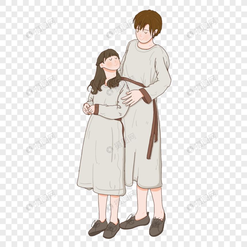 夏天穿裙子一起交谈的母女两个图片