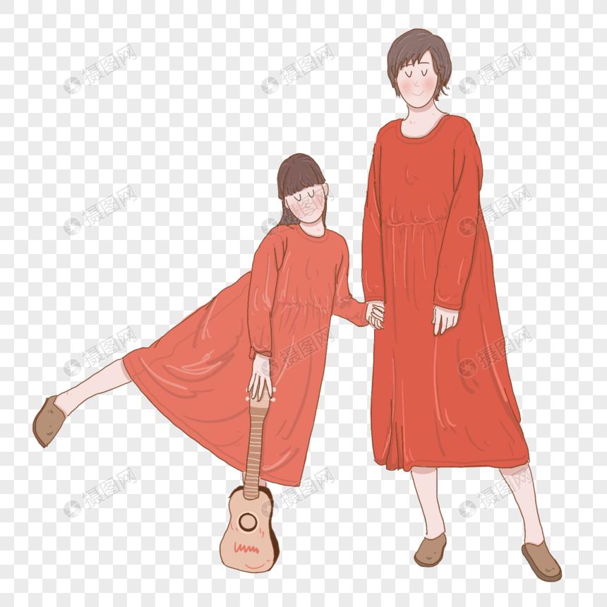 夏天穿着裙子一起出去玩的母女图片
