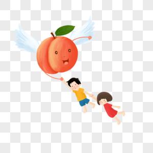 长翅膀的桃子和儿童图片