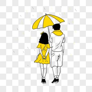 下雨打伞的情侣图片